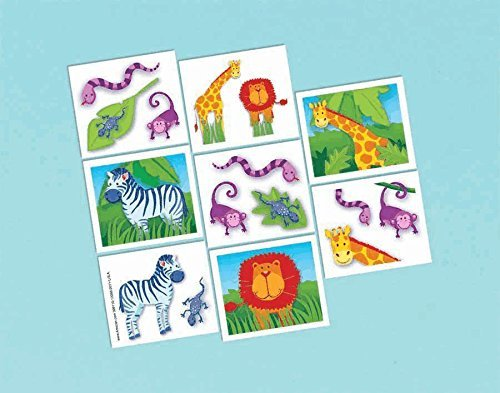 amscan Wild Jungle Animals Themed Party Temporary Tattoos (16 Pack), 2