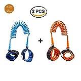 [2 Pack] Toddler Harness Walking Leash- Child Anti Lost Wrist Link - Child Safety Harness - 2.5M Orange + 2.5M Blue- Child Safety Wrist Strap