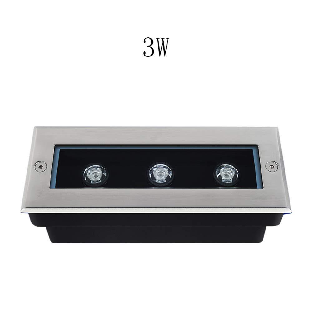 3W rettangolo LED Embedded Sepolto Lampada Scala pavimento corridoio Corridoio Illuminazione Patio Decorazione Giardino LED Luce sotterranea impermeabile IP55 (Colore   giallo light)