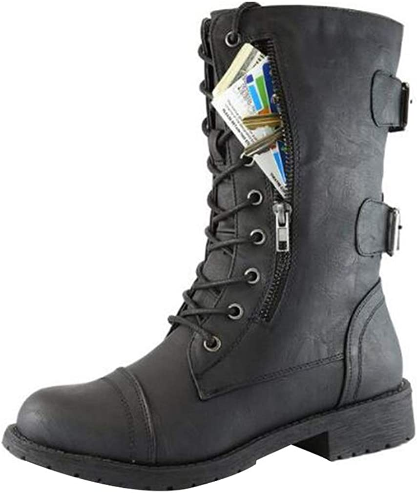 Womens Black Boots Ladies Flat Low Heel Lace Up Boots Side Zip Combat Army Military Ankle Boots Round Toe Martin Boots Size EU 34-42