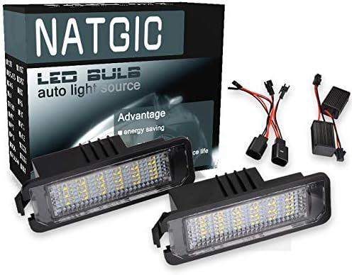 NATGIC 3528 18 SMD LED lámpara de matrícula canbus (Paquete de 2 ...