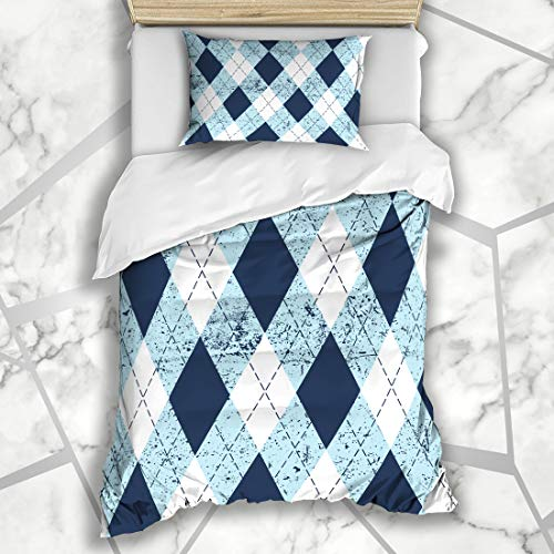 (Ahawoso Duvet Cover Sets Twin 68X86 Aged Blue Check Argyle Pattern Diamond Abstract Vintage Checkered Classic Geometric Golf Grey Microfiber Bedding with 1 Pillow Shams)