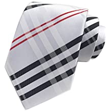 Elfeves Men's Modern Tartan Checks Plaid Style Formal Ties Woven Pattern Necktie