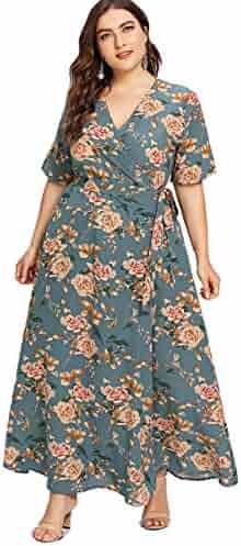 a856ac5992da Romwe Women's Plus Size Floral Print Buttons Short Sleeve V Neck Flare  Flowy Maxi Dress