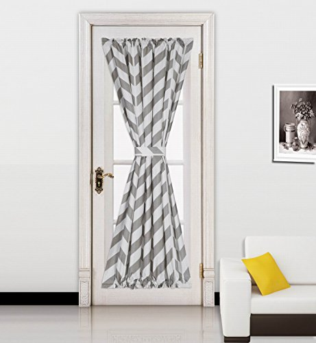 GorgeousHomeLinen(MEME)1pc Chevron Printed Mix Color French Door Foam Backing Insulated Thermal Blackout Rod Pocket Curtain Panel with Tieback 55