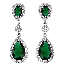 EleQueen 925 Sterling Silver Cubic Zirconia Teardrop Bridal Dangle Earrings
