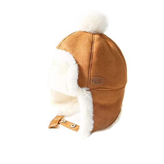 LAPLBEKE Toddler Boys Winter Hat Kids Sherpa Earflap Hat Snow Ski Hat Camel c8ccf998cd05