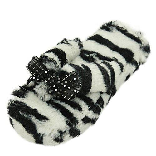 Pvc Ribbed (Home Slipper Women's Long PV Plush Non Slip Indoor Slip On House Sandal Flip Flop Slippers,Black White Zebra Ribbed,US 9/10)