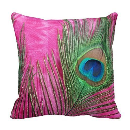 KarilShop Bigdream Hot Pink And Peacock Feathers Linen Throw h.