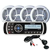 """Jensen CPM200 Marine Stereo Audio System; Includes: MS2A AM/FM/USB/Bluetooth/Waterproof Stereo, Four AMS602W 6.5"""" Coaxial Two-way Speakers, USB/AUX (JENAUX) Input Cable, and Mounting Hardware"""