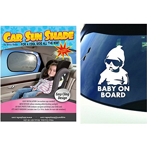 Car Window Shade and Baby on Board Sticker Bundle, UPF 30+ UV Protection Screen Sun Shade, Waterproof Safety Sign ()