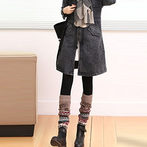 Meolin Comfortable Warm Deer Jacquard Cashmere Knitted Leg Warmers,Khaki,As ()