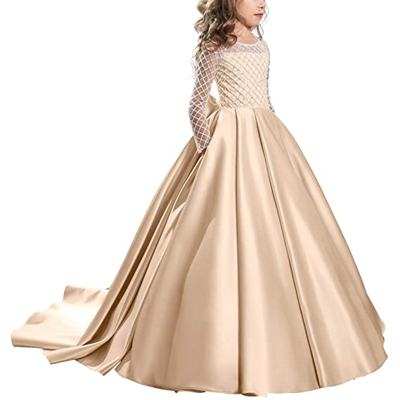be5d0048878a3 Christmas Fancy Flower Girl Dress Floor Length Draped Long Sleeves Tulle  Ball Gowns Kids Princess Wedding Bridesmaid Train Dresses Pageant Birthday  ...