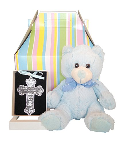 Baby Boy Baptism Gift Set | Bless this Child Crib Cross and Teddy Bear (Blue)