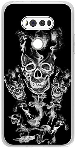 ner Non Slip Rubber Durable Protective Replacement Skin Transparent Cover Shockproof Compatible for Lg V20 + Cool Skull Smoke Design ()