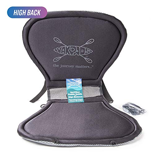 Yakpads High Back Cushioned Seat Pad, Gel Seat Pad for Kayaks, Portable Seat Cushion for Outdoor Watersports and Recreation - Cascade Creek (High Back)