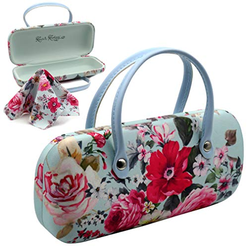 Rachel Rowberry Floral hard women sunglasses case with handles Girls hard eyeglass case with cleaning cloth | for Medium frames (AS12TG Rose Bouquet)