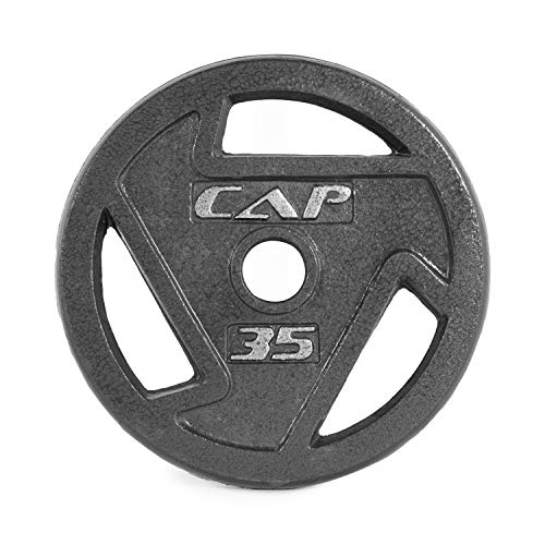 CAP Barbell 2-Inch Olympic Grip Weight Plates, Single, Black, 35 Pound