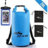 OXA Waterproof Dry Bag and Waterproof Phone Case 20L Roll Top Closure Dry Sack with Dual Shoulder Straps, Durable Lightweight Dry Sack Bags for Kayaking Boating Rafting Swimming Fishing Snowboarding