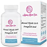 Fenugreek and Blessed Thistle Lactation Aid Support Supplement for Breastfeeding Mothers - 100 Vegetarian Capsules - All Natural Herbal Remedy for Increased Milk Production for Nursing Moms