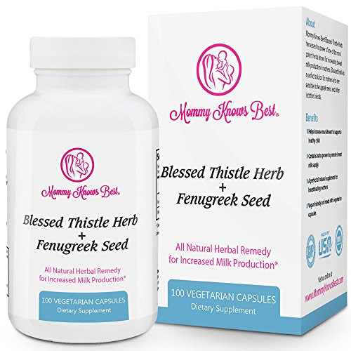 Fenugreek and Blessed Thistle Lactation Aid Support Supplement for Breastfeeding Mothers - 100 Vegetarian Capsules - All Natural Herbal Remedy for Increased Milk Production for Nursing - Nature Kit Breastfeeding