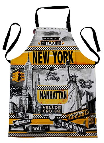 Robin Ruth New York USA Flag Souvenir Gift Home Kitchen Garden Pocket Apron Bib (Taxi-Yellow)