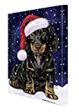 Let it Snow Christmas Holiday Dachshund Dog Wearing Santa Hat Canvas Wall Art D226 (36x48)