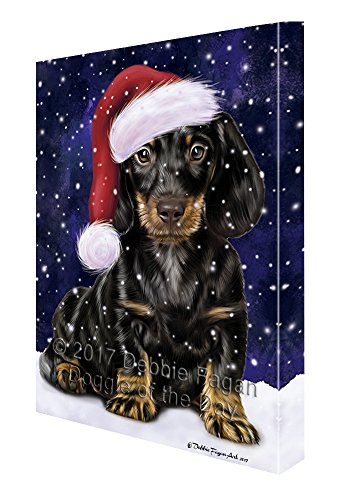 Let it Snow Christmas Holiday Dachshund Dog Wearing Santa Hat Canvas Wall Art D226 (16x20) by Doggie of the Day