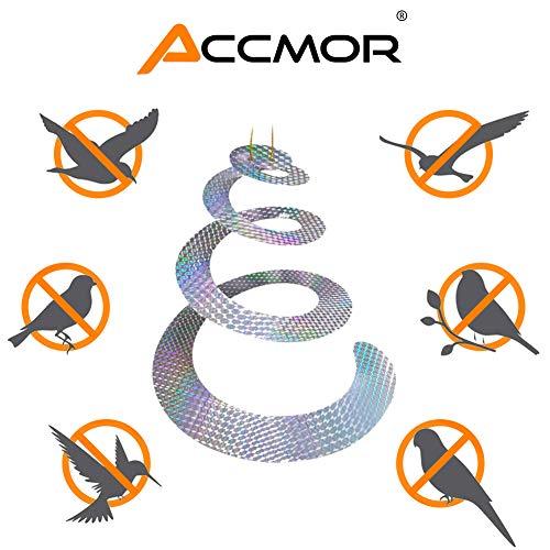 accmor 5 Pack Bird Repellent Devices Reflective Hanging Spiral Spinners,  Scare Birds Away Bird Deterrent Bird Scare Window Decals Repellent Tape