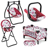 Litti Pritti 4 Piece Set Baby Doll Accessories - Includes Baby Doll Swing, Baby Doll High Chair, Doll Pack N Play, Baby Doll Carrier - 18 inch Doll Accessories for 3 Year Old Girls and Up
