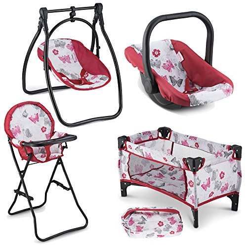 Litti Pritti 4 Piece Set Baby Doll Accessories - Includes Baby Doll Swing, Baby Doll High Chair, Doll Pack N Play, Baby Doll Carrier – 18 inch doll accessories for (Cherry Game Chair)