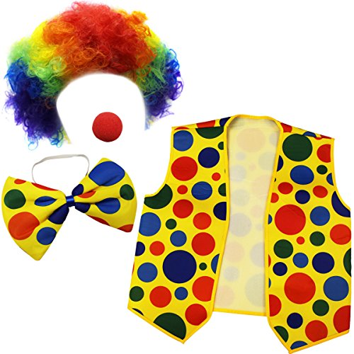 Clown Costume - Clown Nose Clown Wig Bow Tie and Vest - 4 Pc Clown Dress Up Accessories by (Carnival Bow)