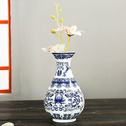 (monque Wall Mounted Porcelain Vases Traditional Chinese Blue White Flower Painted Rare Ceramic Living Room Home Ornaments Antique)