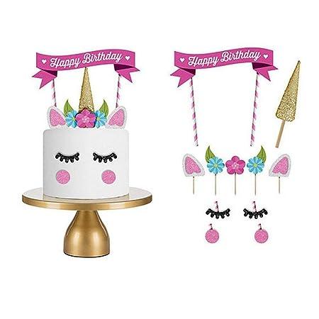 Love77 Cake topper, Decoraciones Pasteles/Cumpleaños, Unicornio Multicolor, 11 uds