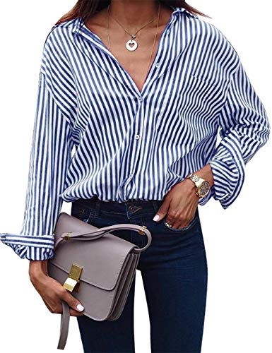 ACKKIA Women's Casual V Neck Vertical Navy Striped T Shirt Long Sleeve Button Down Lightweight Tops Blouses Size L 12 14