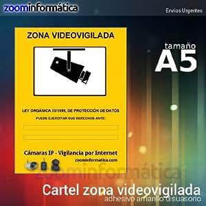 Cartel a5 zona vigilada videovigilada de adhesivo camara - Cartel zona videovigilada ...