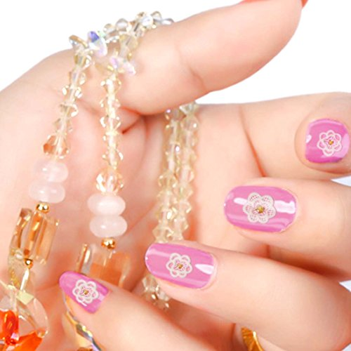 BMC Womens 5 pc White Lace Textured Various Design DIY Manicure Nail Polish Art Stickers - Set 2: Bejeweled