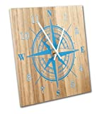 made in usa wood clock - Nautical Compass Wall Clock, 12 Inch, Solid Wood, Non-Ticking, Silent, Made In USA (Blue)