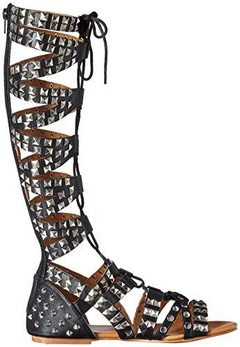 Sandal Gladiator L Black N Anpunk Women's Y A wg1qf6A