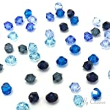 50 pcs Swarovski 5328 / 5301 4mm Crystal Xilion Bicone Beads BLUE Colors Mix **FREE Shipping from Mychobos (Crystal-Wholesale)**