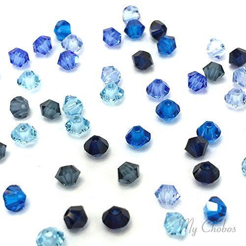 50 pcs Swarovski 5328 / 5301 4mm Crystal Xilion Bicone Beads BLUE (Swarovski Dark Sapphire)