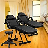 """Giantex Massage Table Facial Bed Chair for Spa with Stool, Adjustable Height Portable 73"""" Salon Massaging Tables for Barber Face Beauty, Updated Facial Beds and Tattoo Chairs, Black"""