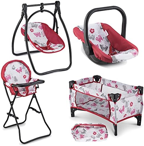 Litti Pritti 4 Piece Set Baby Doll Accessories – Includes Baby Doll Swing, Baby Doll High Chair, Doll Pack N Play, Baby Doll Carrier – 18 inch Doll Accessories for 3 Year Old Girls and Up