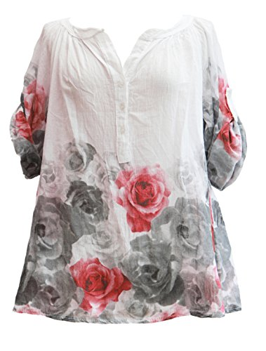 TEXTURE Ladies Women Italian Lagenlook 3 Button Rose Floral Print Cotton Shirt Top Blouse One Size White