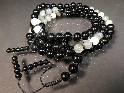Black Onyx AAA, Labradorite AAA*, and White Moonstone AAA Hand-Knotted Mala (108 and Guru), Necklace, Bracelet 7-mm Beads beaded tassel ()