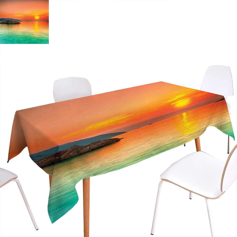 familytaste 自然 ダイニングテーブルデコレーション サンセット ホライゾンバックグラウンド フライングハロンバード 湖川ブッシュ グランジグラフィックテーブルカバー キッチン ブラックグレー W60