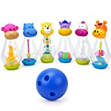 Kid's Bowling Set Animal Party Set with 6 pins Indoor Outdoor Early Learning Activity Toy by Hanmun