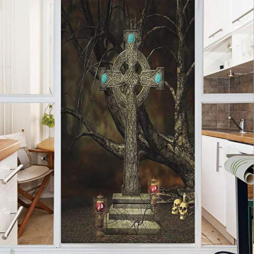 Decorative Window Film,No Glue Frosted Privacy Film,Stained Glass Door Film,Gothic Cross Tree Grave Skulls Tombstone Lanterns Graveyard Night Art Decorative,for Home & Office,23.6In. by 47.2In