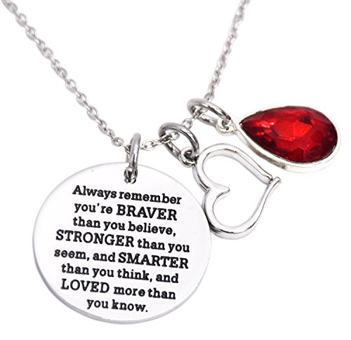 - You Are Braver Than You Believe Awareness Necklace Birthstone Graduation Gift Best Friend Encouragement Gifts …