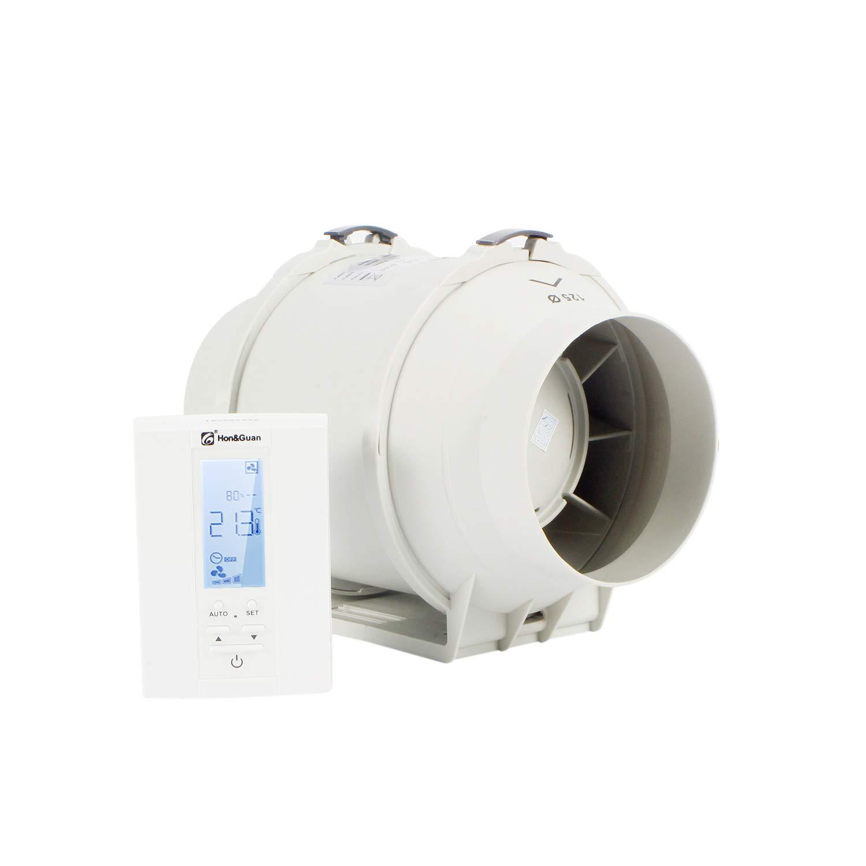Ventilateur de Conduit avec Contr/ôleur Intelligent /ø200mm Hon/&Guan /ø200mm Extracteur A/érateur dair avec Minuterie /& Hygrostat